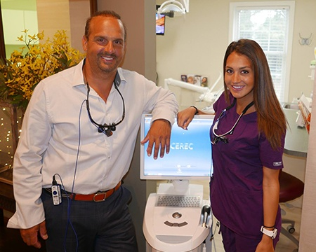 Dentist and team member with CEREC system